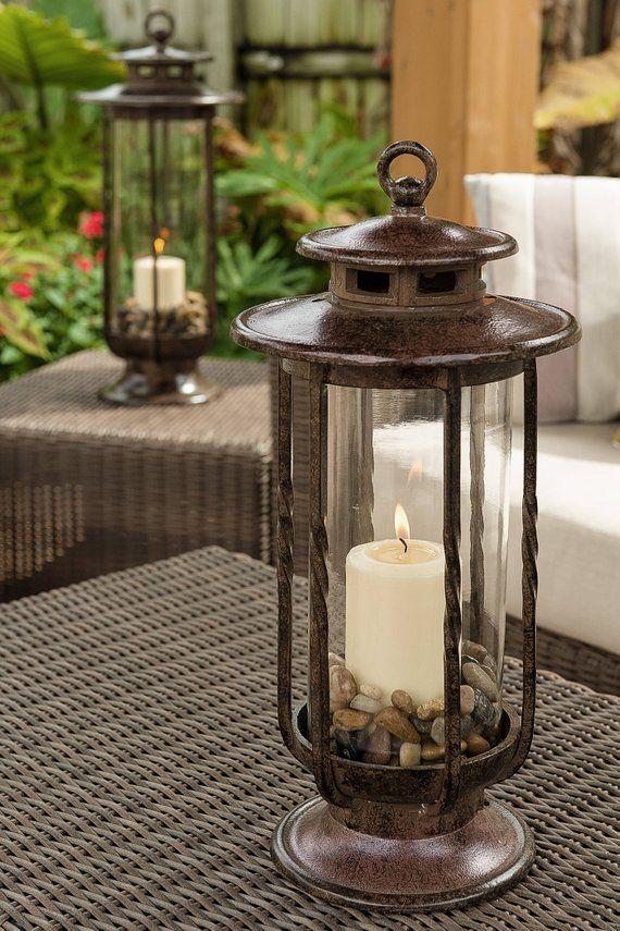 Large Decorative Hurricane Lantern Gl Candle Holder Cast Iron Rustic Indoor Outdoor Lightin
