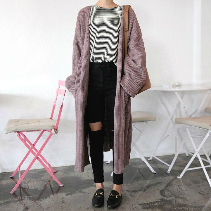 Withyoon: Cardigan + Top + Jeans + Shoes x  Kfashion Korean fashion Ulzzang Aesthetic Fashion
