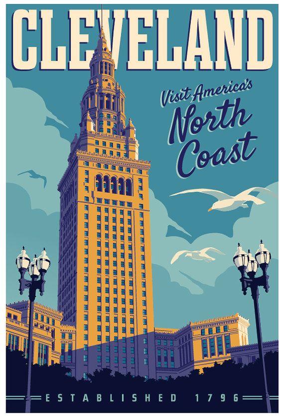 Cleveland  Vintage Style Travel Poster by RedRobotCreative on Etsy