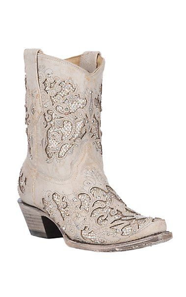 Corral Women's White w/ White Glitter & Crystals Inlay Wedding Snip Toe Ankle Boots | Cavender's