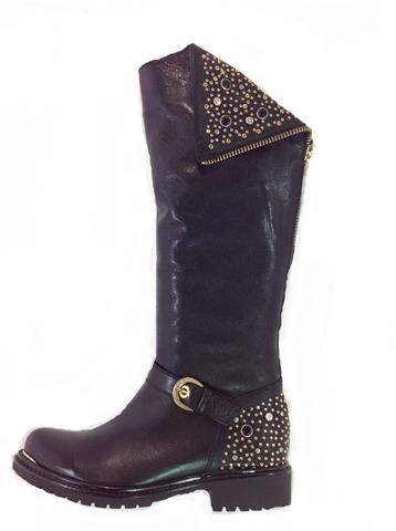 This style of boot is costing over £400 in some staore. Ours is just £200. New In ! beautiful leather full biker boot with stud and crystal trim and chunky back zip. Wear cuff up or down. Exclusive to www.shoesatgoody2shoes.co.uk