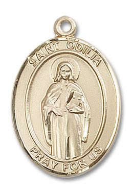 St. Odilia Patron Saint Medal 14kt Yellow Gold (Large)