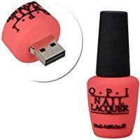 PORTWORLD Nail Polish Bottle Shaped 16GB USB 2.0 Flash Drive - Rose