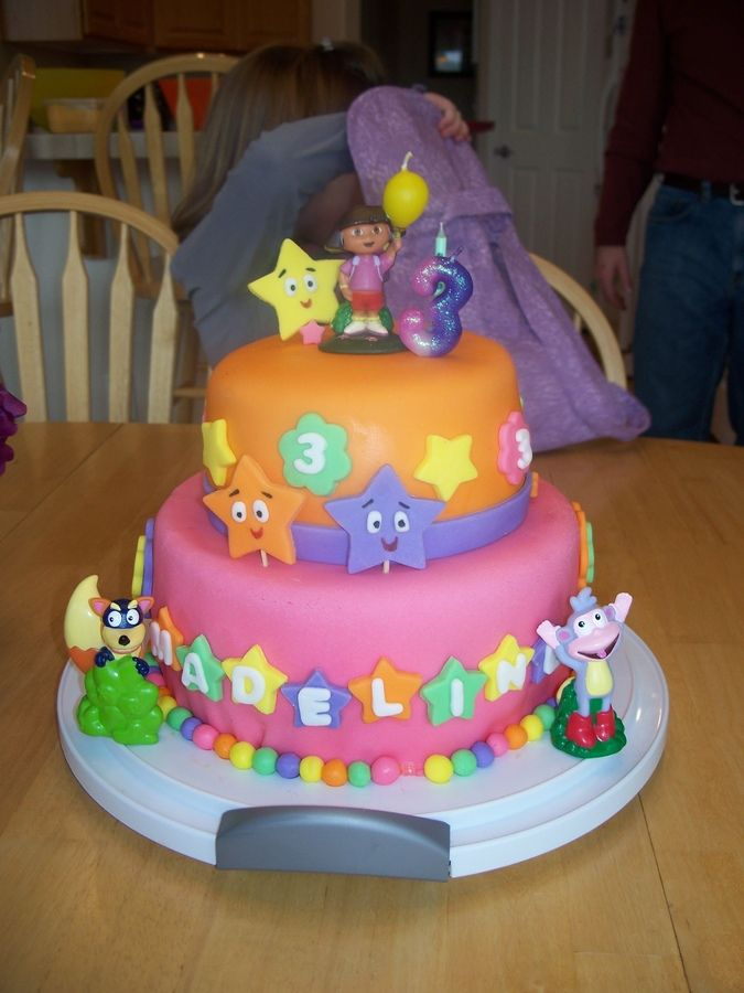 """I found this cake at random on a Google picture search for """"Dora Birthday Cake"""" and adapted it to fit my daughter's tastes and my supplies! My first cake with fondant!"""