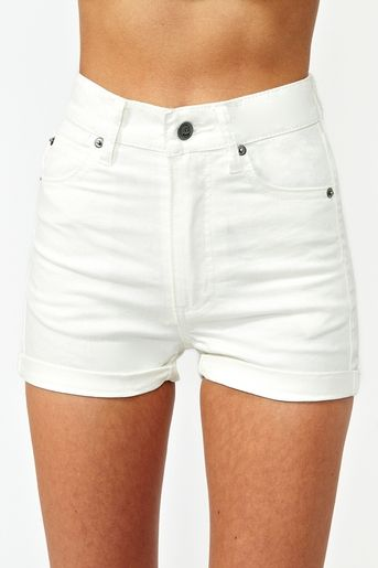 love love love high waisted white shorts