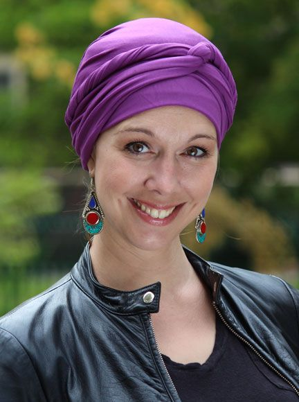 Perfect for chemo patients and women who love the look of head wraps, but are intimidated by the tying. Soft bamboo beanie has two long ties to twist, wrap, and tie however you choose.