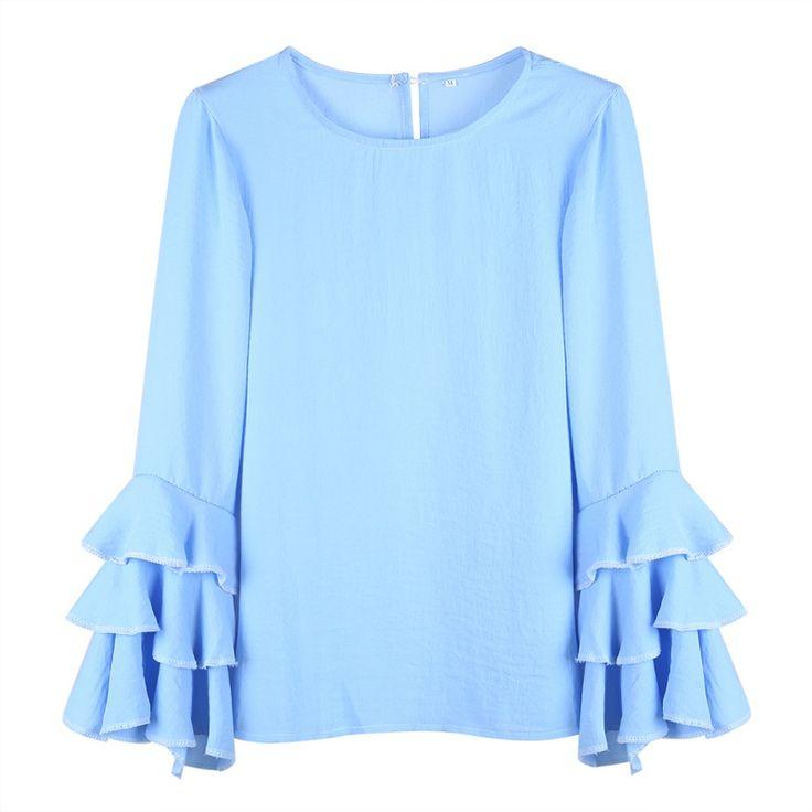 2017 Plus Size 3XL Women blouse Back Button Hollow Out Blouses Thin Long Fold Sleeve blusas. Click visit to buy #Blouse #Shirt #BlouseShirt