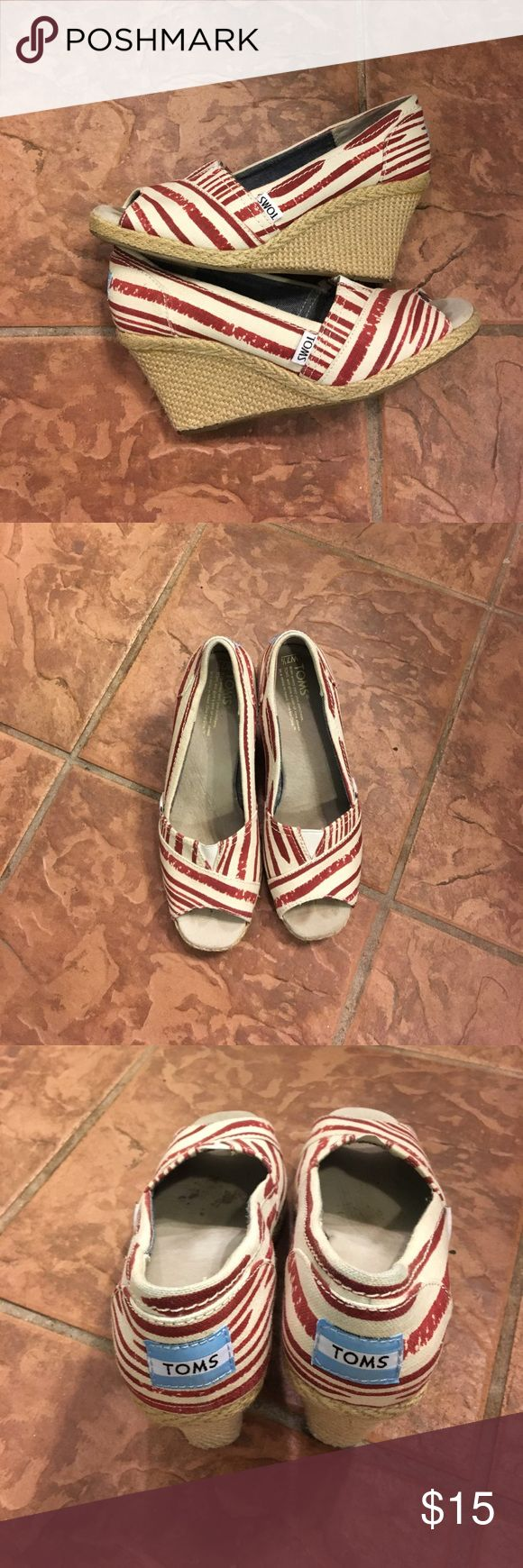 Tom's peep toe wedge sandal shoe Minimally worn red beige striped print on canvas . Jute on wedge toms Shoes Wedges