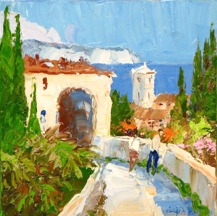 Erich Paulsen, Mediterranean Vista, Original Oil  16 x 16