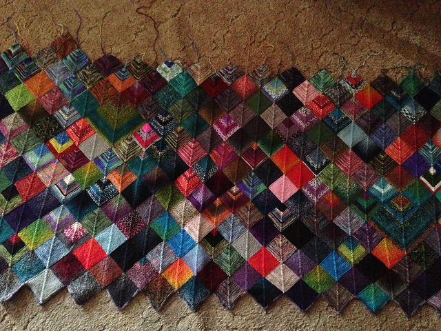 Ravelry: Zoeknitgirl's version of the Sock Yarn Blanket pattern by Joyce Fisher