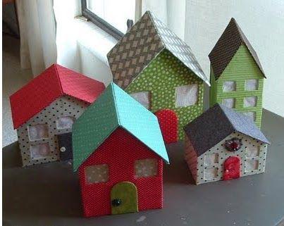 regardsetmaisons: - DIY - Maisons en carton et morceaux de tissus