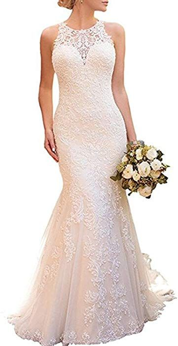 2e7d9067baae Alanre Halter Mermaid Appliques Lace Bridal Gown See-Through Back Wedding  Dresses White 16 at Amazon Women's Clothing store: