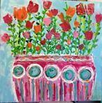 Grote kunst kleurrijk veel verf bloemen schilderij modern