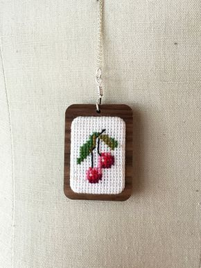 Cross Stitch Cherry Necklace Cherries Jewelry by TheMarshWrenShop