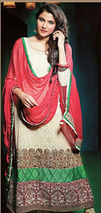 $116.16 Off White Embroidery Jacquard Pakistani Salwar Suit 24368