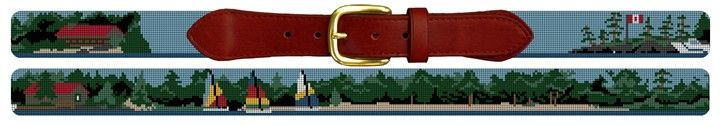 Custom Landscape Scene Needlepoint Belt | NeedlePaint