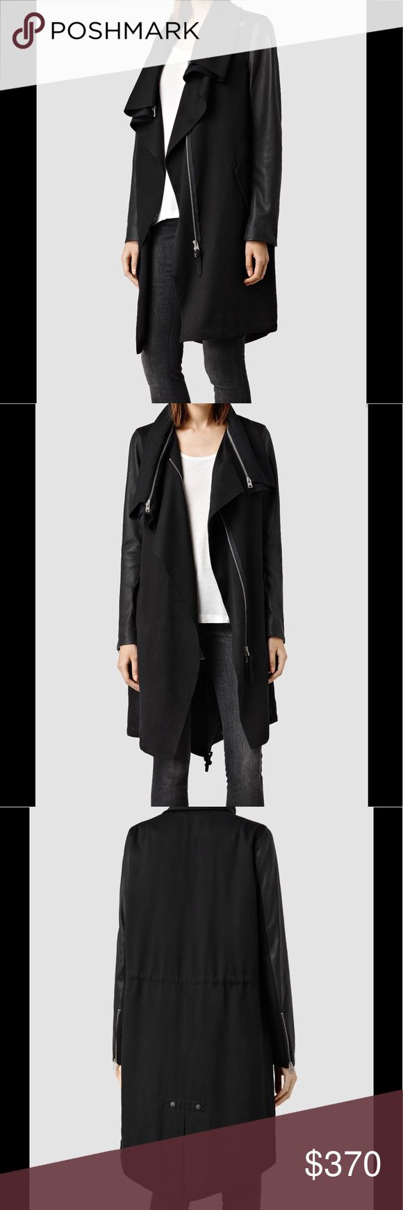 All Saints Luna parka size US 6 This is the gorgeous All Saints Luna Parka Jacket coat Black Gorgeous versatile coat !  100% Lamb leather sleeves. All Saints Jackets & Coats