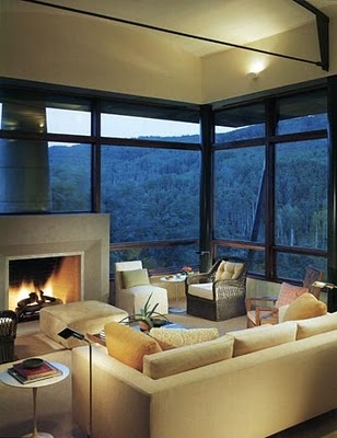 Beautiful room, view and fireplace.