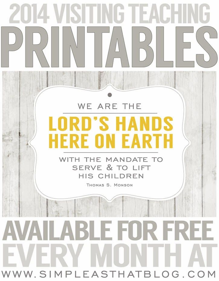 Free 2014 Visiting Teaching Printables, love these!    via @Christina Childress Childress Childress Childress & - Simple as That Blog
