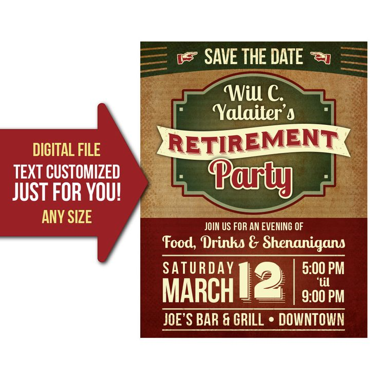 personalized retirement party flyer poster invitation advertisement i will customize this item using