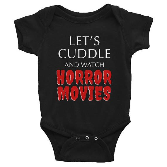 Let's Cuddle and Watch Horror Movies Onesie, Goth Baby Clothes, Goth Baby, Gothic Baby Clothes, Gothic Baby, Black Baby Clothes, Goth Mom, Gothic Mom, Rockabilly Mom, Alt Mom, Alternative Mom, Punk Mom, Punk Baby, Rockabilly Baby, Alternative Baby, Rock Baby, Witch Baby, Ghost Baby,  Baby Romper, Black Bodysuit, Occult Horror, Horror Movies, Black Onesie, Clothing, Unisex Baby Clothes, Halloween, Baby Shower Gift, New Baby Gift, Push Present, First Birthday Gift, Pregnancy Announcement