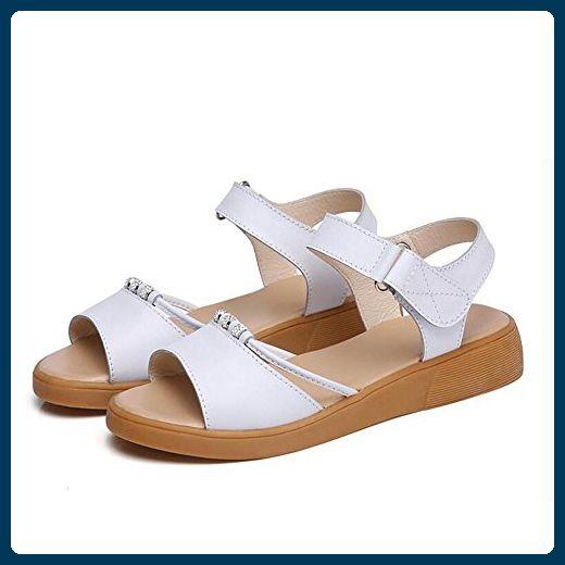 Sandalen L@YC Frauen Sommer Flache Sandalen 2017 Non Slip Flach Mit Wilden Einfachen Weichen Unteren Schuhe , white , 40 - Sandalen für frauen (*Partner-Link)