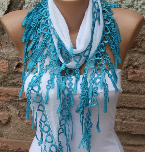 White Scarf - Cotton Scarf -  Cowl with  Lace Edge. $13.50, via Etsy.