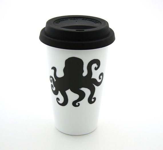 Octopus Travel Mug Double Walled Porcelain with Lid by LennyMud, $20.00- this shop is great!!