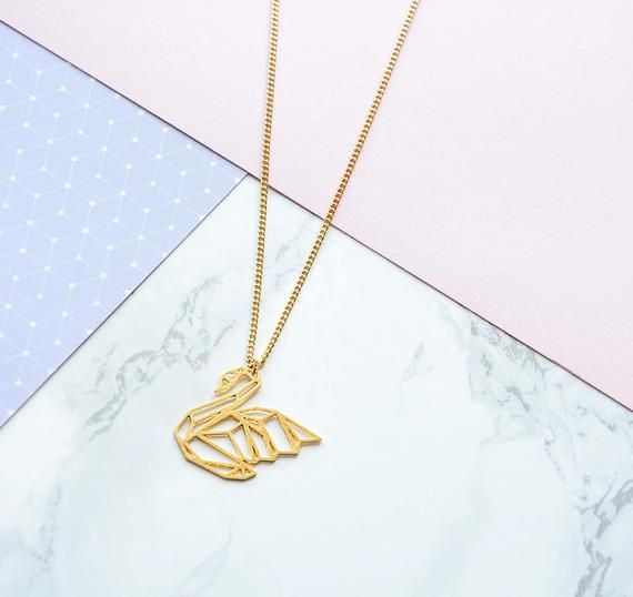 Origami Swan Necklace | 925 sterling silver | Gold Vermeil ... | 538x570