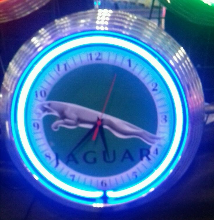 Marvelous JAGUAR LEAPING CAT GARAGE SIGN B RO WANDUHR NEON BLAU WALLCLOCK BLUE NEON