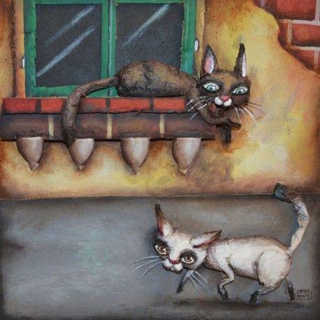 Cathy Mouis - Un chat sur la fenêtre