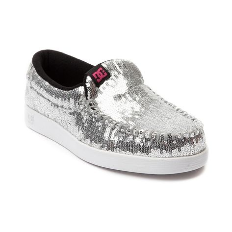 Shop for Womens DC Villain LE Skate Shoe in Silver at Journeys Shoes. Shop today for the hottest brands in mens shoes and womens shoes at Journeys.com.This Villains your friend. DC slip-on style skate kick with a silver sequin upper, moc toe, elastic gore for easy on-and-off, and double-stitching for durability. Available only at Journeys and SHI!