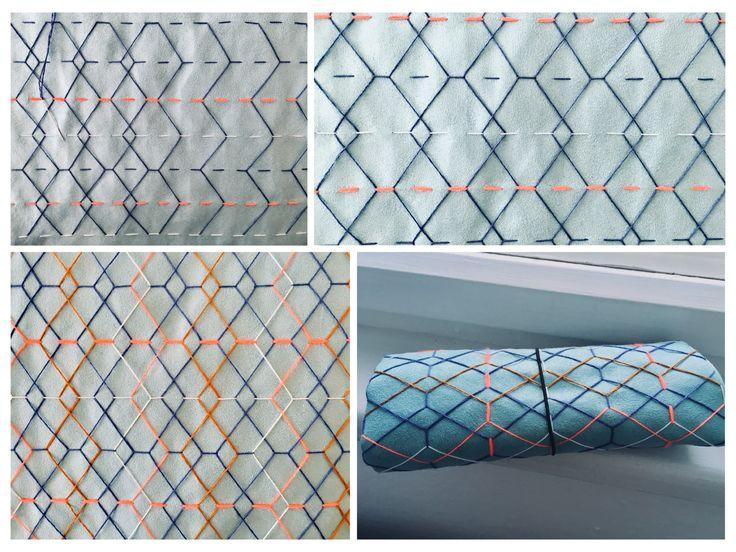 Sashiko inspired geometric stitched textile design/ Wunderwuz