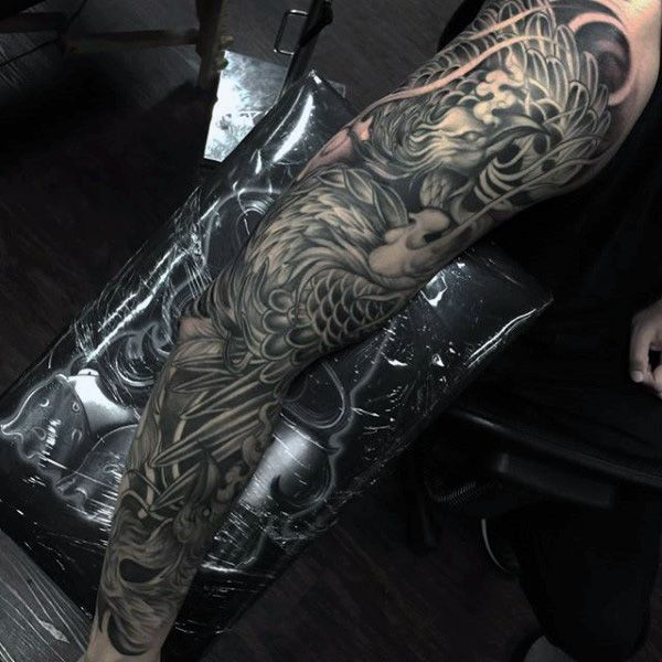 Men's Full Sleeve Phoenix Bird Tattoos