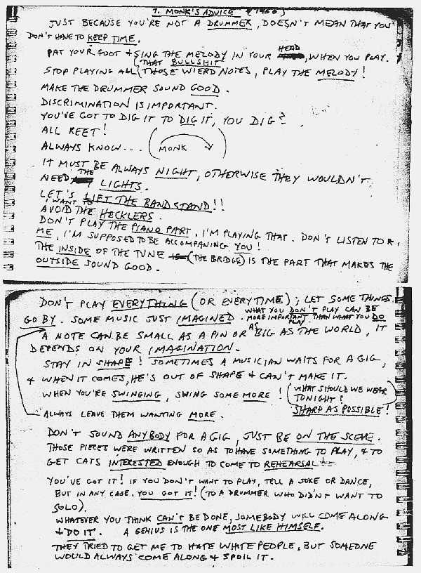 Thelonius Monk's advice to jazz musicians, handwritten transcription by Steve Lacy 1960
