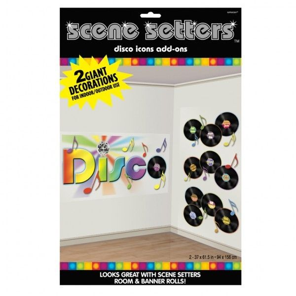 Dance Fever Scene Setter Add Ons- Disco & Records, 1.65m x 85cm
