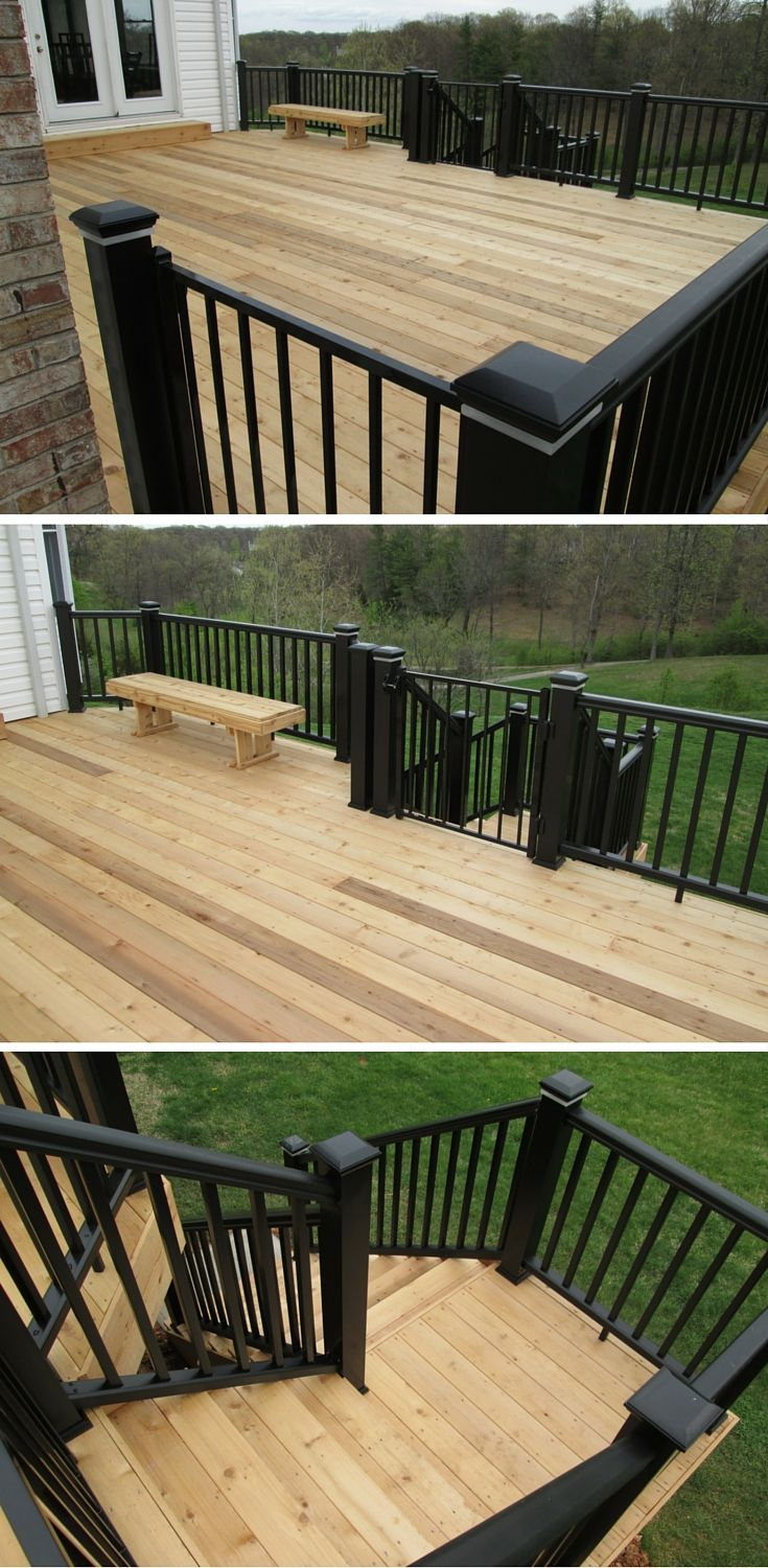 Combining all-natural cedar decking with modern, low maintenance rails on this elevated deck mixes traditional elements with modern features for a dramatic style. Notice the bench, lights and safety gate at the top of the stairs for complete customization. | houzz.com