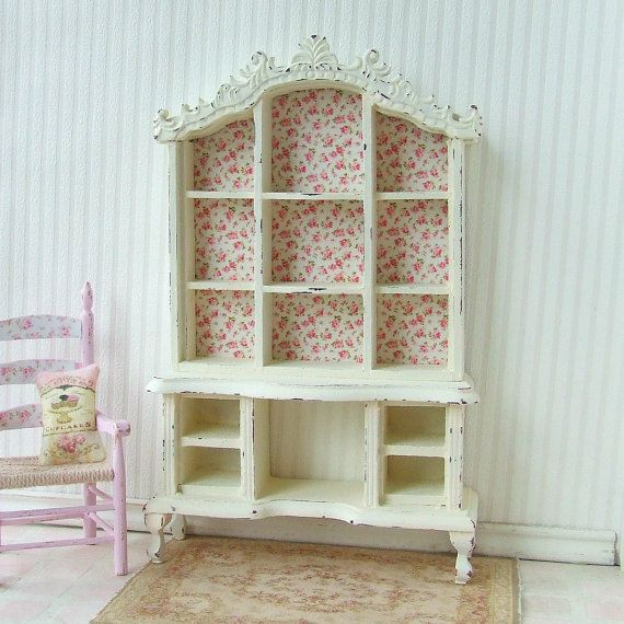 Dollhouse Miniature Wooden Distressed Cream Display Cabinet Dresser Hutch Furniture Shabby Chic 12th Scale.