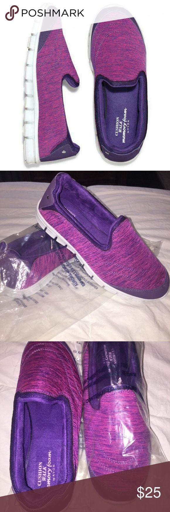 AVON CUSHION WALKER PURPLE SLIP ON SNEAKERS BRAND NEW IN PACKAGE! PURPLE MEMORY FOAM LIGHT WEIGHT SNEAKERS. SIZE 9 Avon Shoes Sneakers
