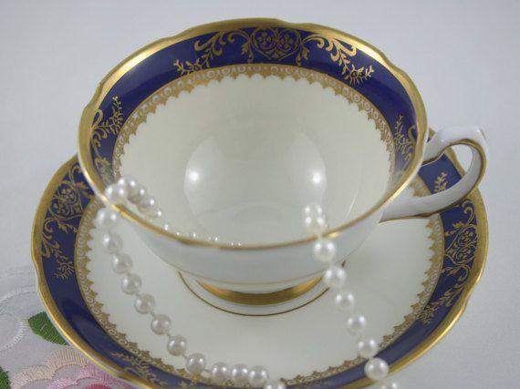 Elegant Royal Grafton Teacup & Saucer Blue Cobalt by TinasDecor