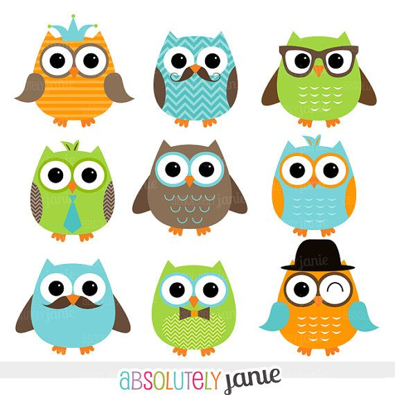 Boy Owls Orange Green Blue Digital Clipart - INSTANT DOWNLOAD - Clip Art Commercial Use