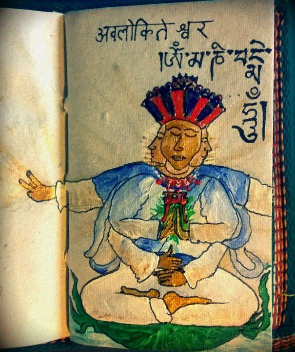 Der Boddhisattva Avalokiteshvara, gezeichnet nach den Geistreiseerfahrungen und Erscheinungen von Poeta Immortalis. Er lehrte mich die Herz-Meditation: http://nebel-all-raunen.blogspot.de/2016/01/avalokiteshvara-herzmeditation.html