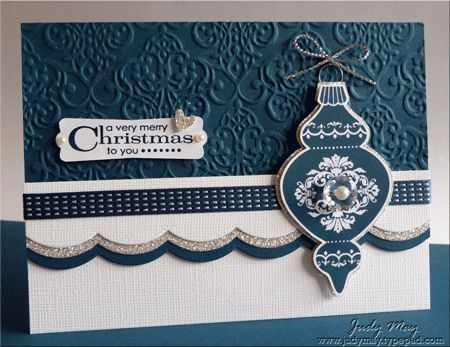"""i like it **** SU """"Ornament Keepsakes"""", """"Holiday Ornaments"""" framelits dies, & """"Lacy Brocade"""" Embossing Folder from the 2012 Holiday Mini and """"Large Scallop"""" edgelits."""