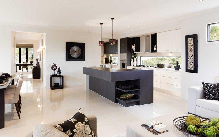 love metricon house designs - black and white kitchen