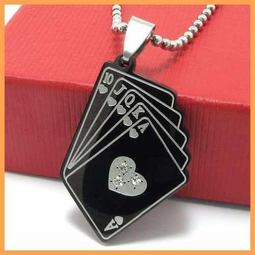 Бесплатная доставка ювелирные изделия черный игральных карт стрит-флеш кулон из нержавеющей стали ожерелье мужские ожерелья 10567