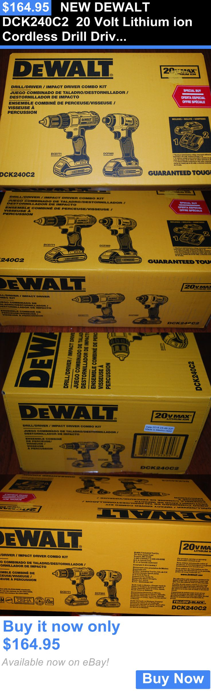 tools: New Dewalt Dck240c2 20 Volt Lithium Ion Cordless Drill Driver /Impact Combo Kit BUY IT NOW ONLY: $164.95