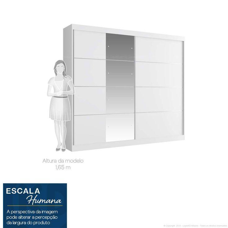 Guarda-roupa 2 Portas de Correr com Espelho Capri Branco - Manto Móveis | Lojas KD