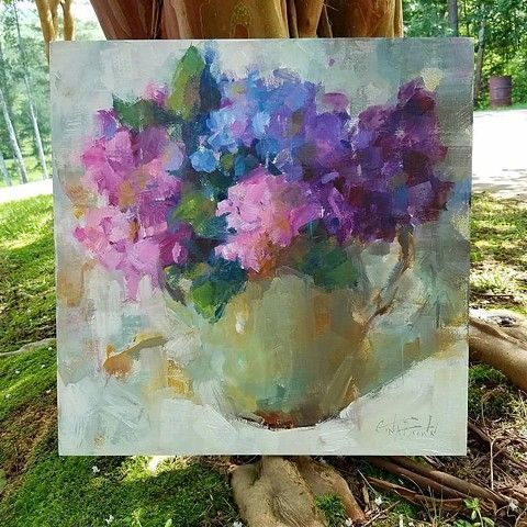 """Summer"" 18 x 18 original oil painting • impressionistic • hydrangeas • Alabama artist Gina Brown www.GinaBrownArt.com"