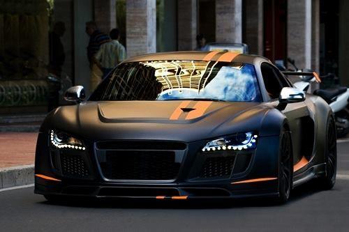 Audi.. flat paint, orange stripes & those headlights ...