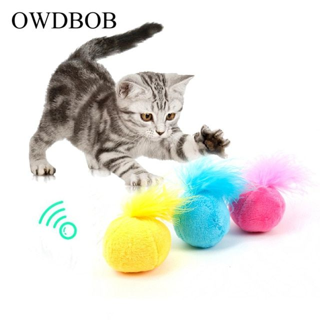 Owdbob Sound Catnip Toys Ring Bell Funny Interactive Feather Toys
